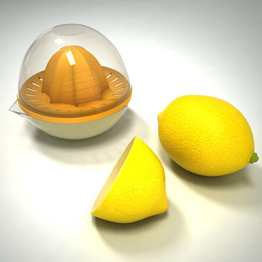 Citrus Juicer & Lemons royalty-free 3d model - Preview no. 6