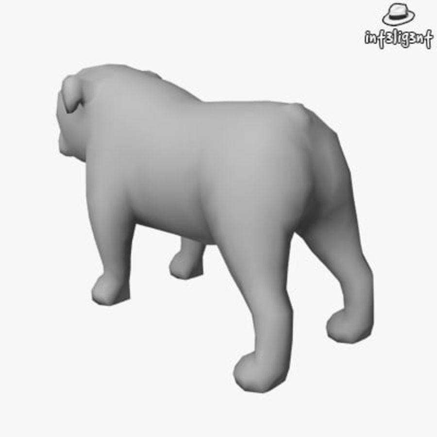 Low Poly English Bulldog royalty-free 3d model - Preview no. 3