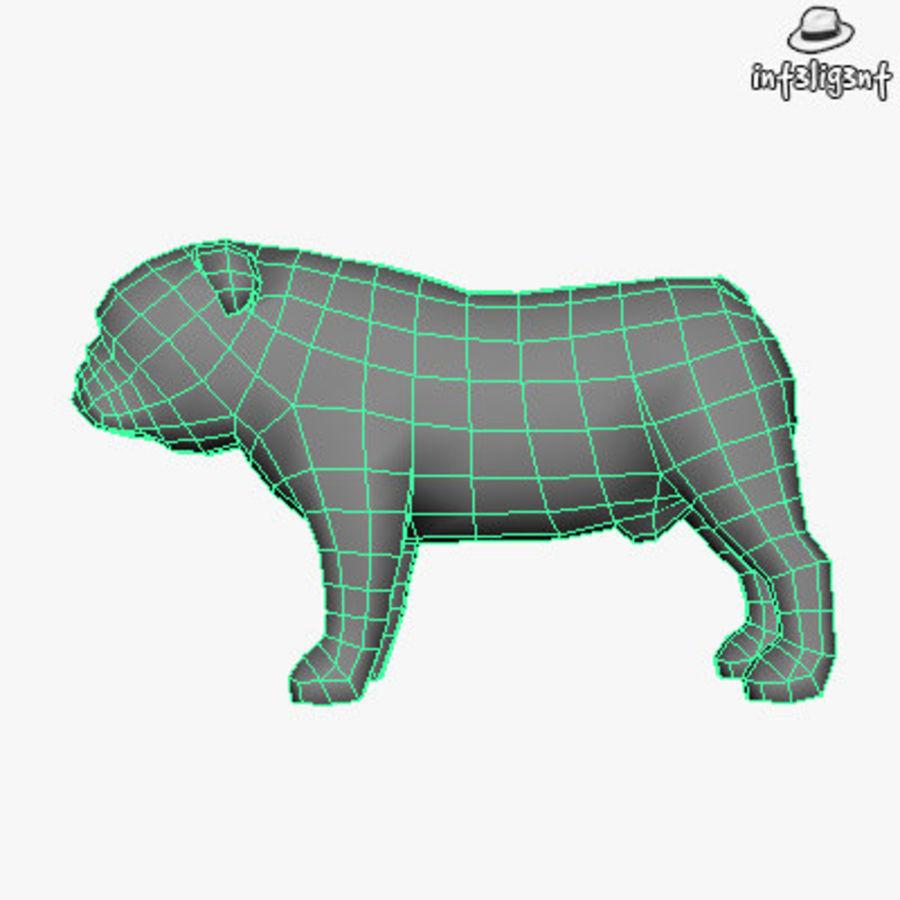 Low Poly English Bulldog royalty-free 3d model - Preview no. 5