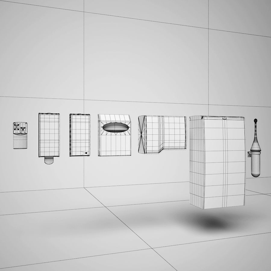 Badkamer accessoires royalty-free 3d model - Preview no. 9