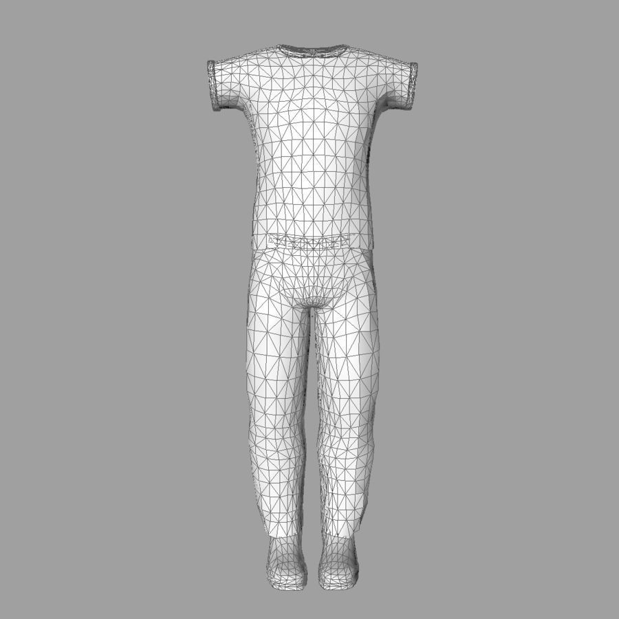 T-shirt męski na co dzień, szary royalty-free 3d model - Preview no. 10