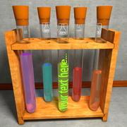 Rek met flesjes Testbuisjes 3d model