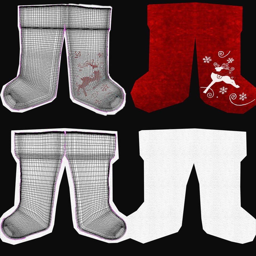 Christmas Stocking royalty-free 3d model - Preview no. 18