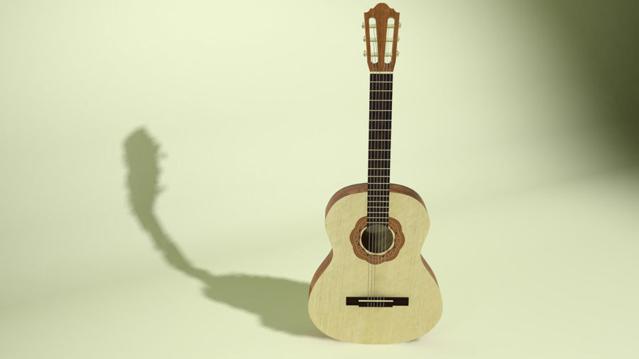 classic guitar royalty-free 3d model - Preview no. 2