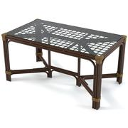 Rattan Glass Dining Table 3d model