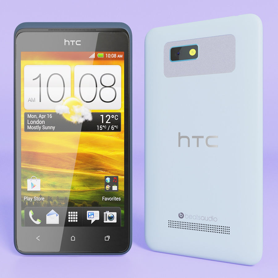 HTC Desire 400ライトブルーバージョン royalty-free 3d model - Preview no. 3