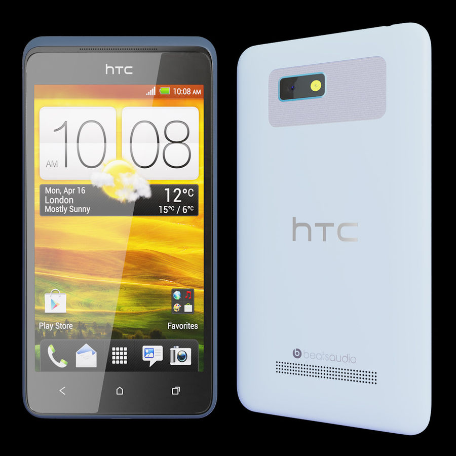 HTC Desire 400ライトブルーバージョン royalty-free 3d model - Preview no. 2