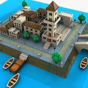 漫画島の町 3d model