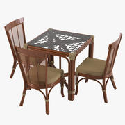 Rattan Table & Dining Chair Set 3d model