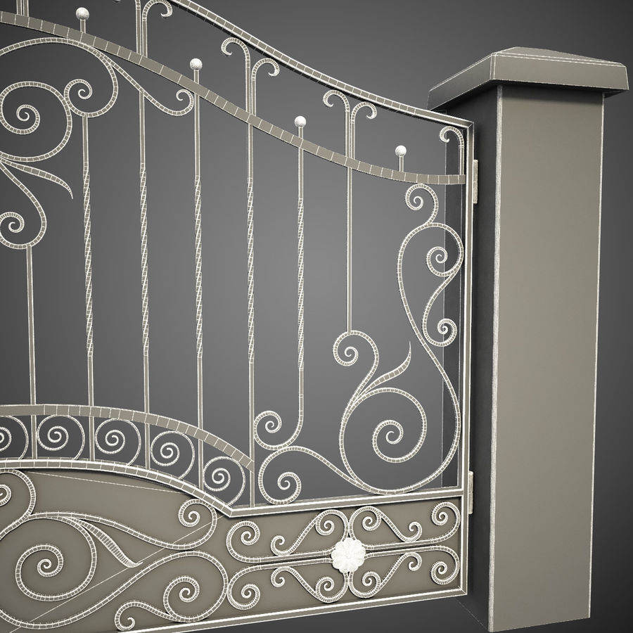 Wrought Iron Gate royalty-free 3d model - Preview no. 2