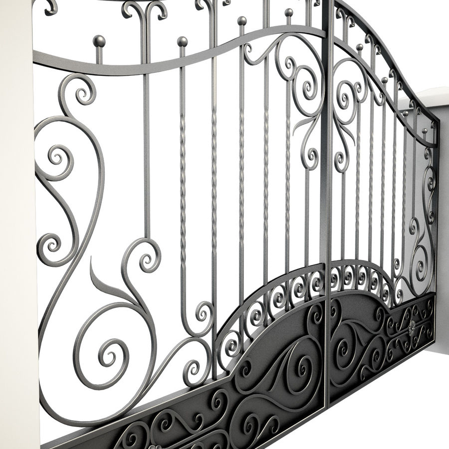Wrought Iron Gate royalty-free 3d model - Preview no. 11