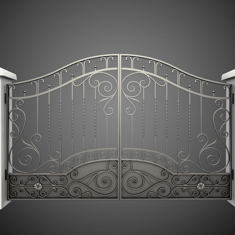 Wrought Iron Gate royalty-free 3d model - Preview no. 3