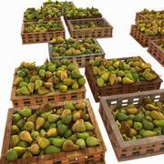 Casse di frutta pera Case Mercato Negozio Negozio Convenienza Generi alimentari Fruttivendolo Dettaglio Prop Fiera Piantagione Giungla Pianta sud Giardino Serra 3d model