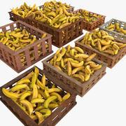 Banane Cassette di frutta Casse Negozio Negozio Convenienza Generi alimentari Fruttivendolo Dettaglio Prop Fiera Piantagione Giungla Pianta del sud Giardino Serra 3d model