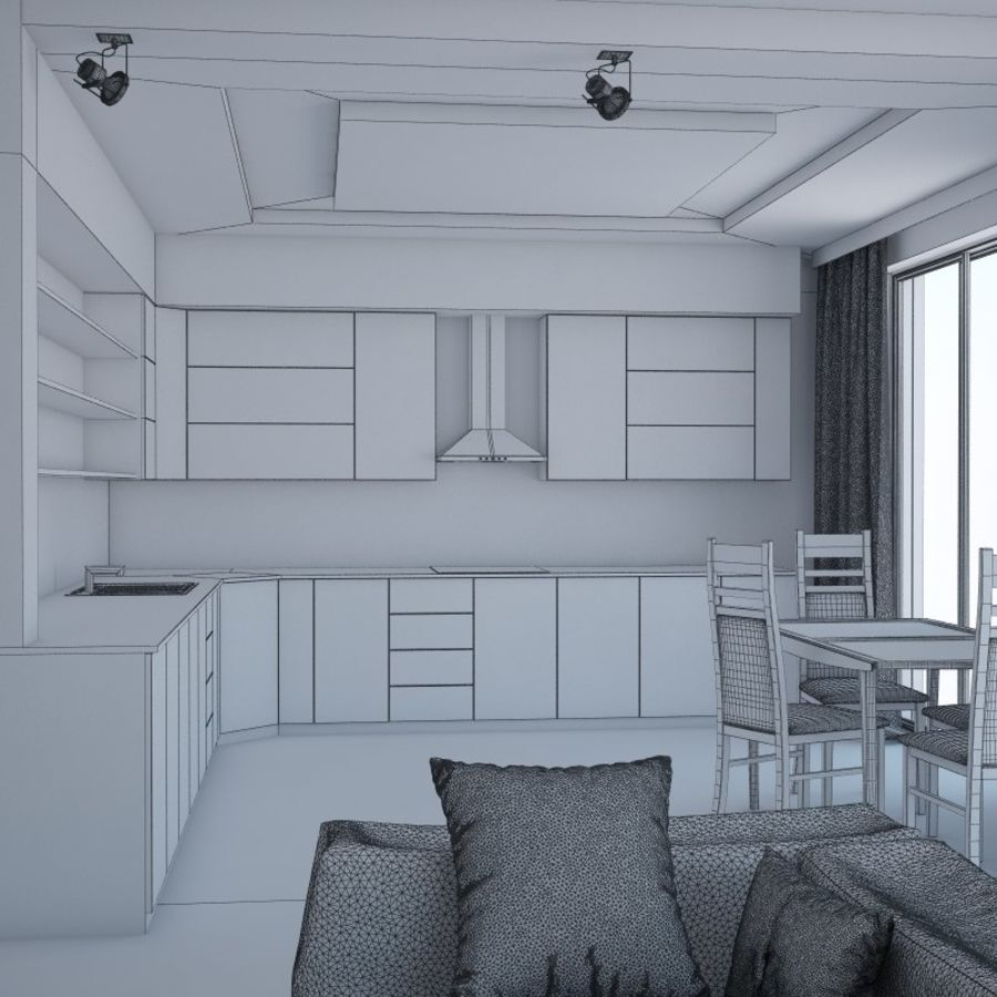 Modern interieur royalty-free 3d model - Preview no. 10