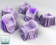 six couch covered with cloth 3d model