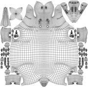 Nilpferd - hoch 3d model