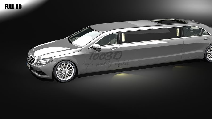 S_klass_limo royalty-free 3d model - Preview no. 5