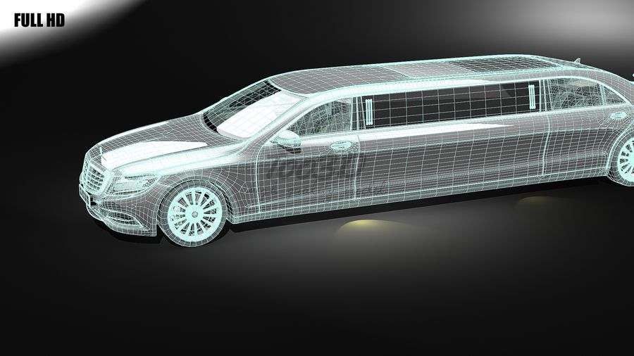 S_klass_limo royalty-free 3d model - Preview no. 8