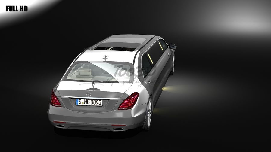 S_klass_limo royalty-free 3d model - Preview no. 3