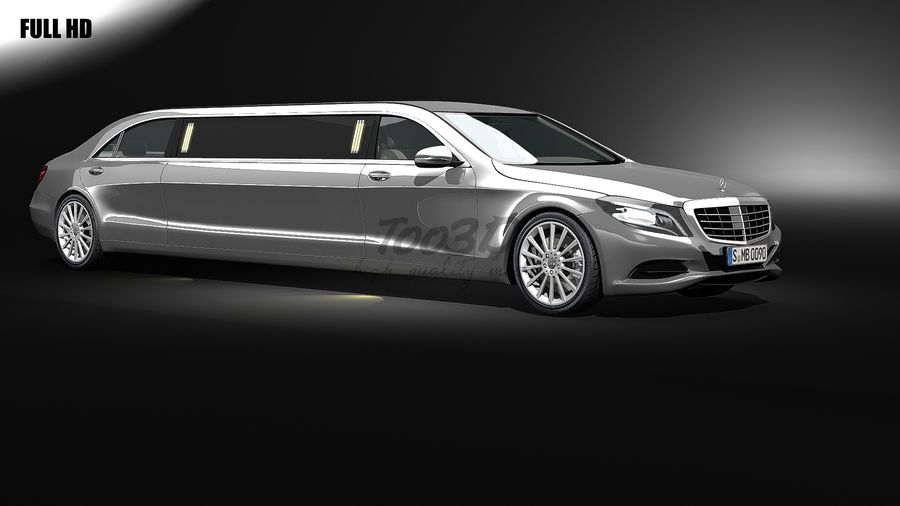 S_klass_limo royalty-free 3d model - Preview no. 1