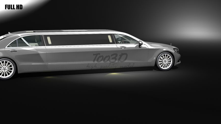 S_klass_limo royalty-free 3d model - Preview no. 2
