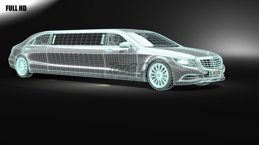 S_klass_limo royalty-free 3d model - Preview no. 6