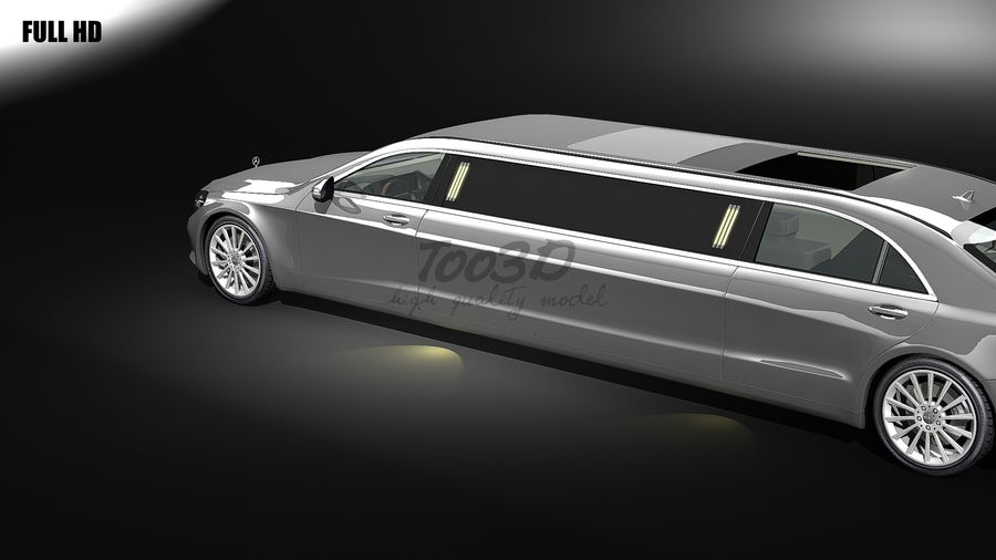 S_klass_limo royalty-free 3d model - Preview no. 4
