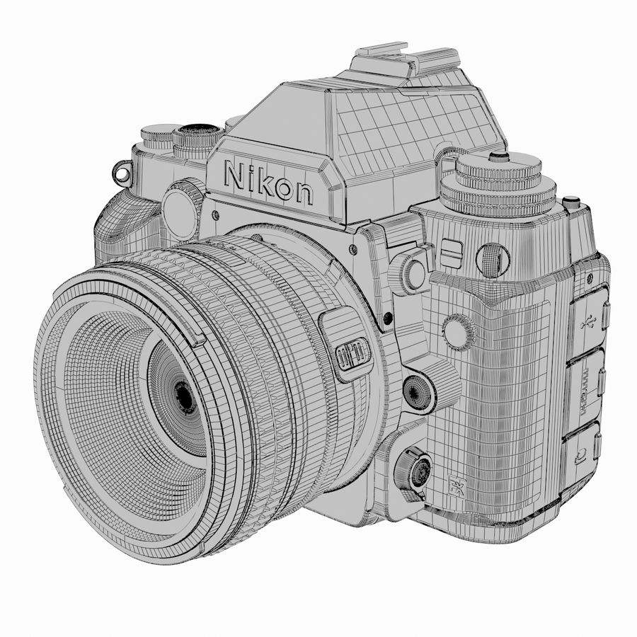Nikon DF DSLR royalty-free 3d model - Preview no. 16