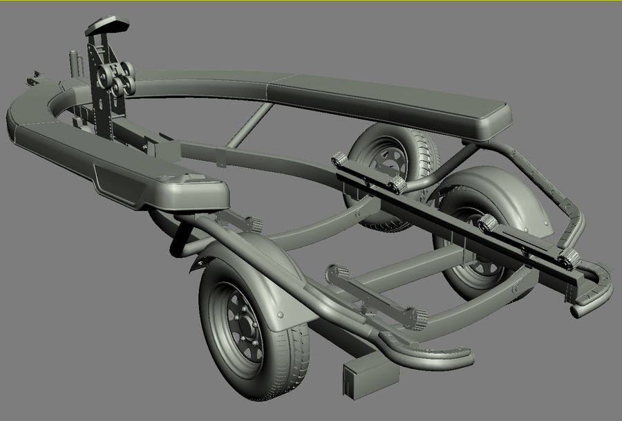 Sea-Doo GTI 215 and trailer royalty-free 3d model - Preview no. 15