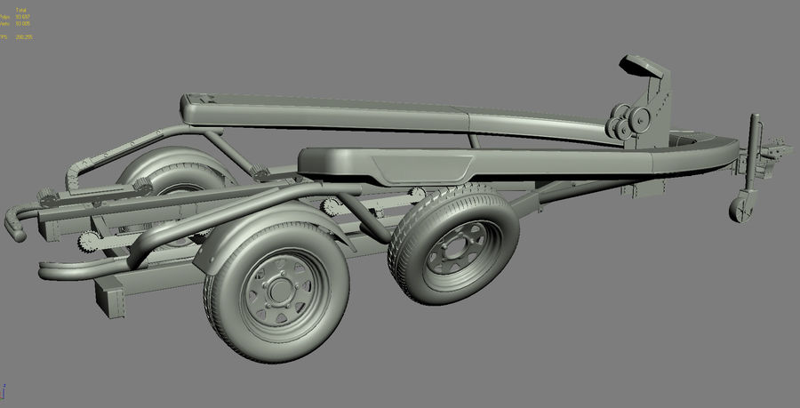 Sea-Doo GTI 215 and trailer royalty-free 3d model - Preview no. 17