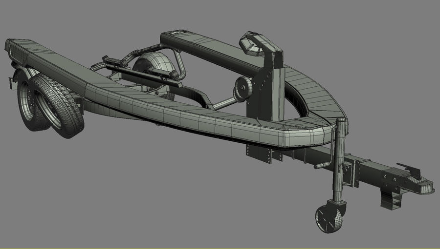 Sea-Doo GTI 215 and trailer royalty-free 3d model - Preview no. 14