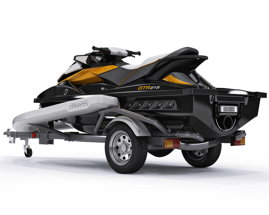 Sea-Doo GTI 215 and trailer royalty-free 3d model - Preview no. 6