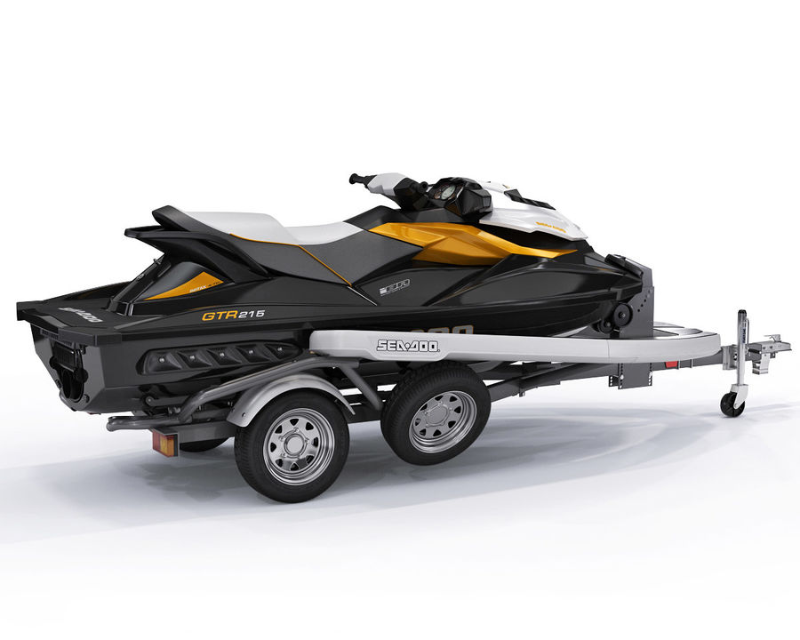 Sea-Doo GTI 215 and trailer royalty-free 3d model - Preview no. 4