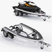 Sea-Doo GTI 215 and trailer 3d model