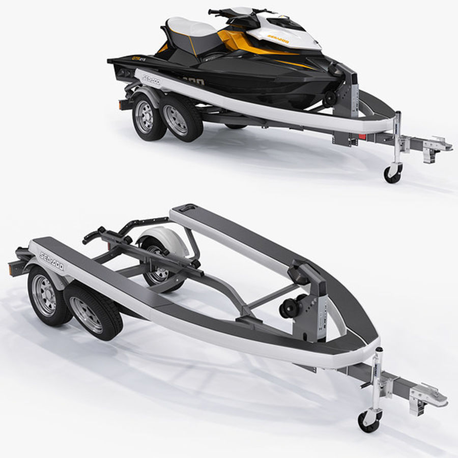 Sea-Doo GTI 215 and trailer royalty-free 3d model - Preview no. 2