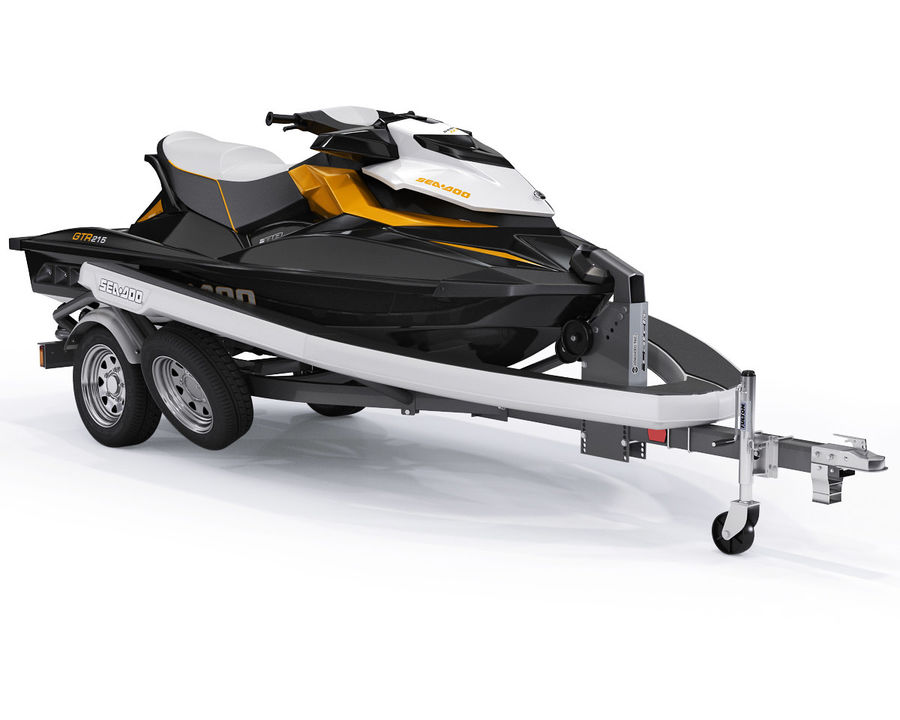 Sea-Doo GTI 215 and trailer royalty-free 3d model - Preview no. 3