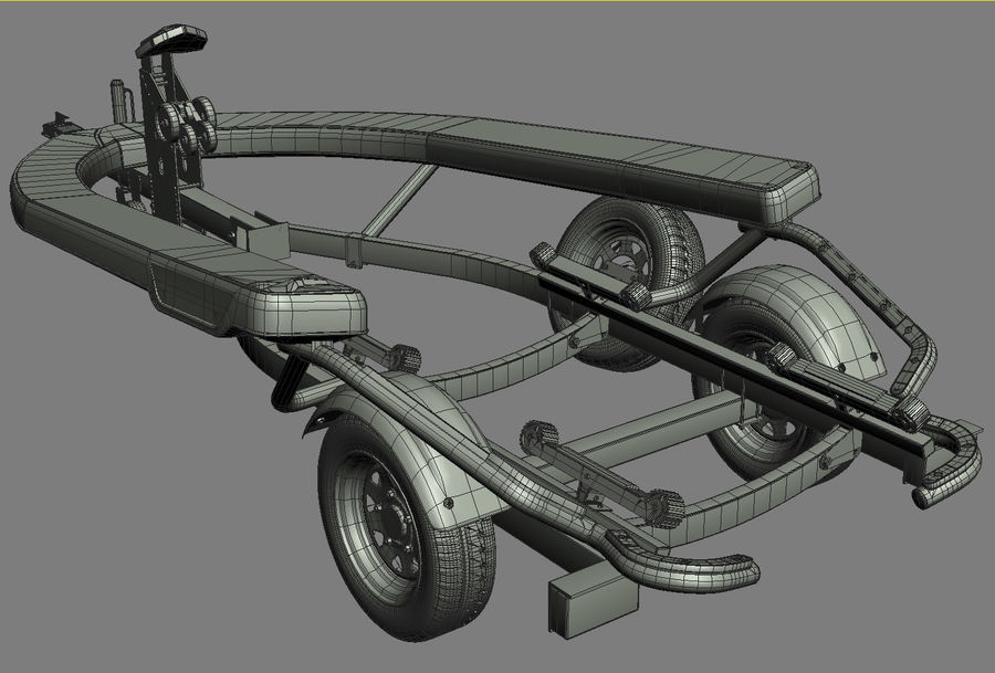 Sea-Doo GTI 215 and trailer royalty-free 3d model - Preview no. 16
