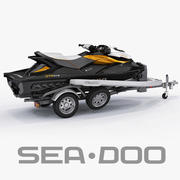 Sea-Doo GTI 215 and trailer 3d model