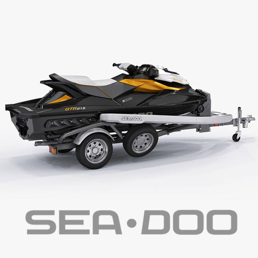 Sea-Doo GTI 215 and trailer royalty-free 3d model - Preview no. 1