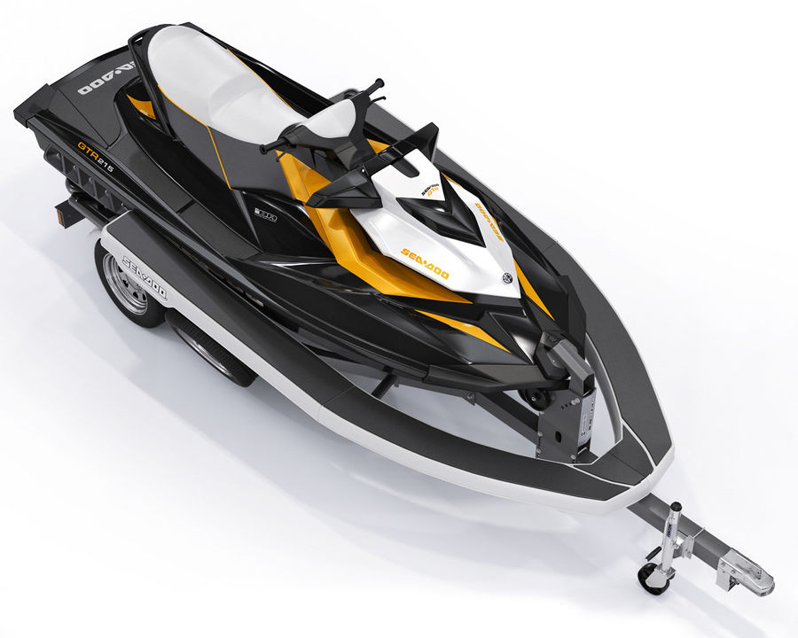 Sea-Doo GTI 215 and trailer royalty-free 3d model - Preview no. 5