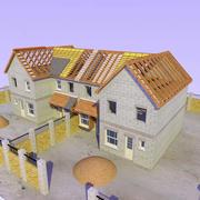Byggnad av enskilt hus 3d model