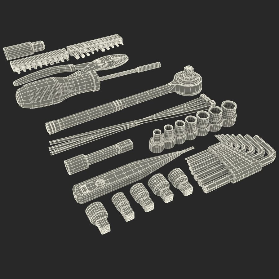 Precision Tools Set royalty-free 3d model - Preview no. 34