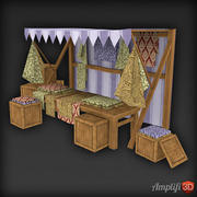 Low Poly Market Stall Stoff 3d model