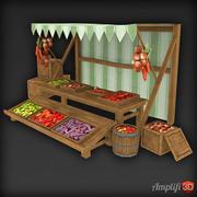 Low Poly Market Stall Veg 3d model