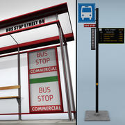 Przystanek autobusowy z rozkładem jazdy 3d model