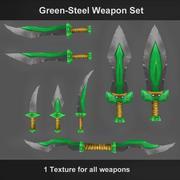 Set de armas de acero verde modelo 3d