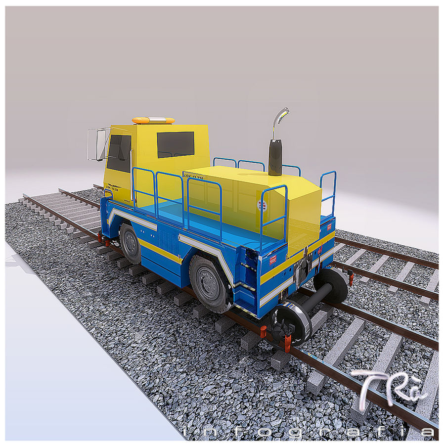 LOCOMOTIVE TRACTOR royalty-free 3d model - Preview no. 3