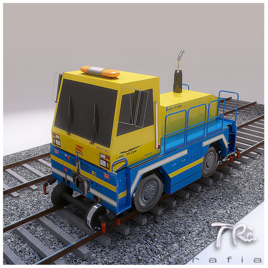 LOCOMOTIVE TRACTOR royalty-free 3d model - Preview no. 2