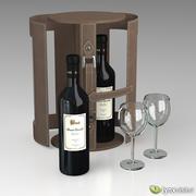 Set da vino con astuccio e bicchieri 3d model